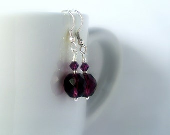 Dark Purple Czech Glass Earrings -Black Dahlia