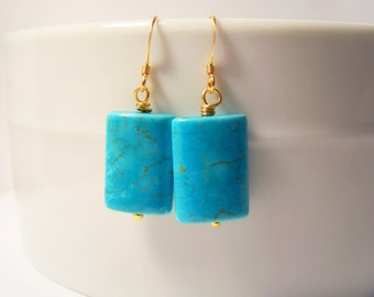 Turquoise Pillowcut Gold Earrings