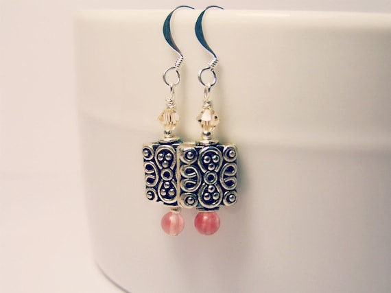 Pewter Swarovski and Cherry Quartz Earrings - The Gift