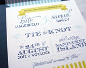 Nautical Wedding Invitation Suite (Sample) in blue and yellow