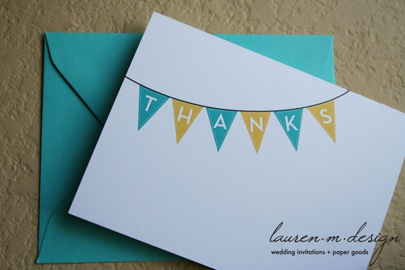 Banner/Pennant Thank You Cards (set of 12)
