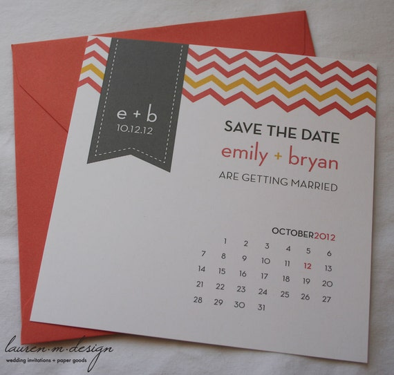Chevron Save the Date (Sample) in Coral and Gray