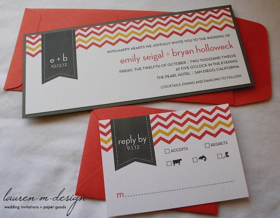 Chevron Wedding Invitation Suite (Sample) in Coral and Gray