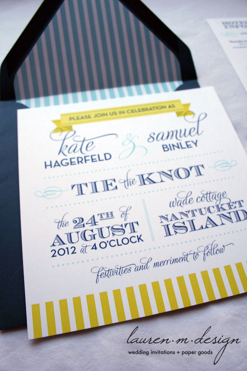 Nautical Wedding Invitation Suite Sample in blue by ...