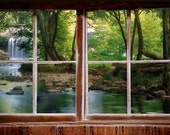 Wall mural window, self adhesive, woods and waterfall  window view-3 sizes available - free US shipping