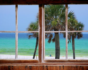 Wall mural window, self adhesive, gulf window view-3 sizes available-EMERALD COAST- Florida - free US shipping