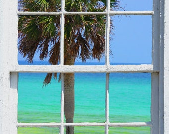 Wall mural window, self adhesive, gulf window view-large 24x36 inches-Destin Beach - free US shipping