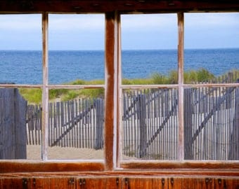 Wall mural window, self adhesive, Cape Cod Dune- window view-3 sizes available - free US shipping