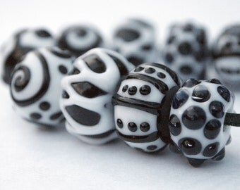 Black and White Textures-Lampwork Glass Beads