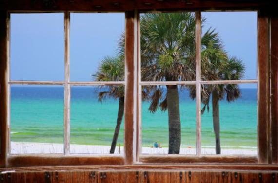 Wall mural window, self adhesive, gulf window view-3 sizes available-EMERALD COAST- Florida - free US shipping