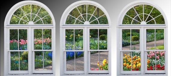 Faux Window Frame Photo Wall Decals Dutch Garden Holland