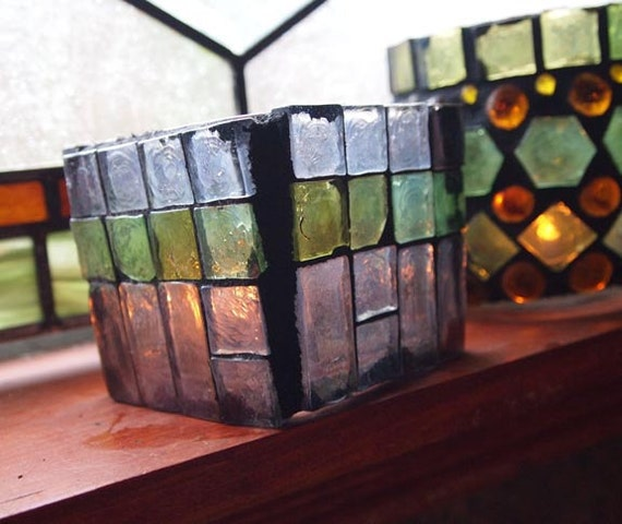 Lantern, hurricane lamp, stained glass mosaic luminaria, candle holder-FROSTED MORNING