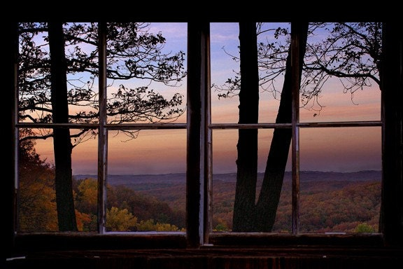 Wall Decal Fall Landscape Window View Large 24x36
