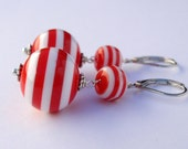 Long lever back red and white earrings Stripy Balls