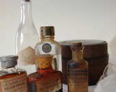 vintage apothecary bottles and a japanese box with Mt. Fuji