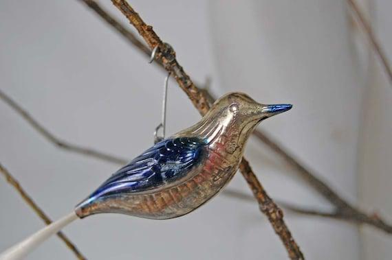 vintage patinaed blue bird ornament
