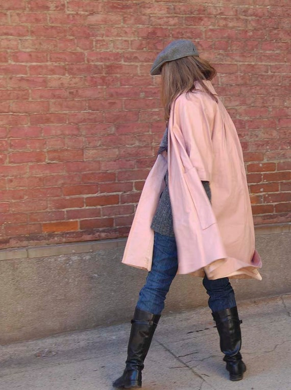 60's Pink Leather Swing coat / Mod