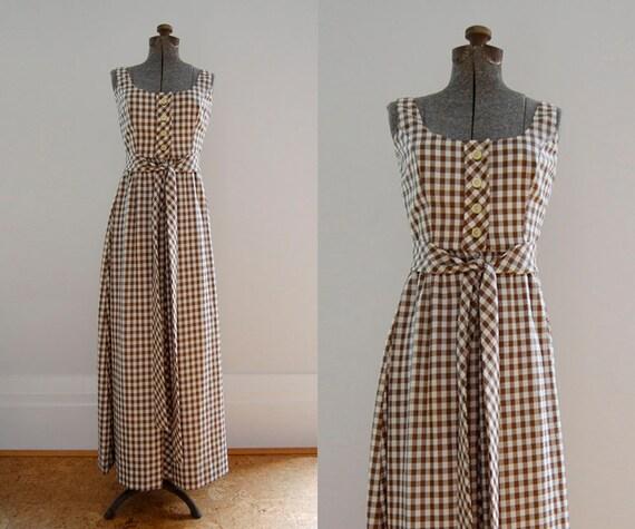 V I  N T A G E Brown Gingham Maxi Dress