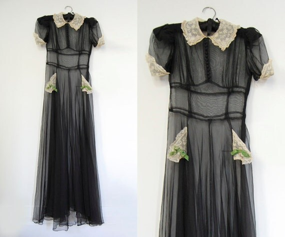 V I  N T A G E Art Deco Nuit Noire Gown...reserved for Claudia