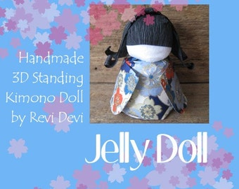 Japanese 3D standing washi doll..  Flower Doll in blue kimono.. Kawaii cute pretty for cake topper or everyday gift for her