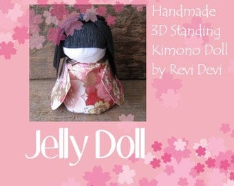 Japanese 3D standing washi doll.. Flower Doll in pink kimono.. Handmade paper craft for gift.. Original design