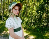 Undyed Natural Cotton Calico Regency Austen Day dress with straw bonnet SALE