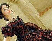 Victorian Civil War Taffeta Ball Gown Dress in custom flocked velvet taffeta