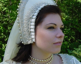 Renaissance Tudor Court Boleyn French 1500s Hood headpiece with beading CUSTOM