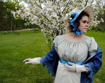 Naturally Dainty Muslin Regency Day dress with bonnet CUSTOM