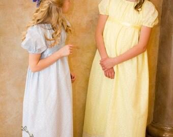 Eyelet Regency Jane Austen Girl Childrens Ball Gown Dress CUSTOM your color choice