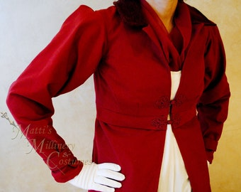 CUSTOM Regency Jane Austen dress Spencer Jacket Pelisse Redingote in Red twill