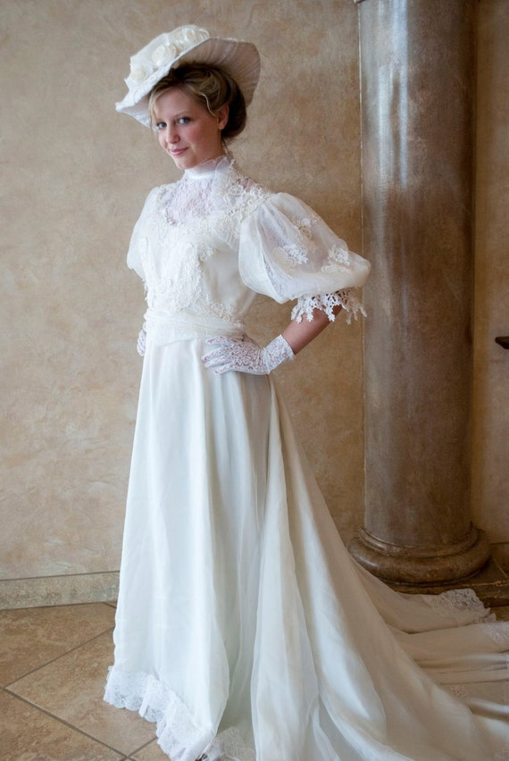 Victorian Edwardian Tea Visiting Wedding Dress Gown And Hat