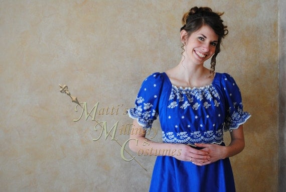 CUSTOM Regency Jane Austen Cotton Day Gown Dress in embroidered Norwegian blue cotton eyelet and white muslin