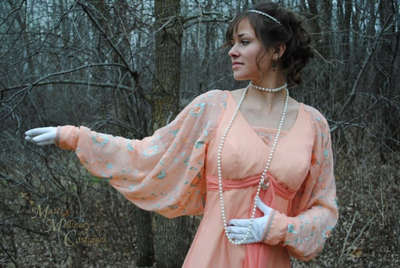 Titanic 1900s Downton Abbey Edwardian Peach Evening Ball Gown Dress RE-MAKE Deconstructed