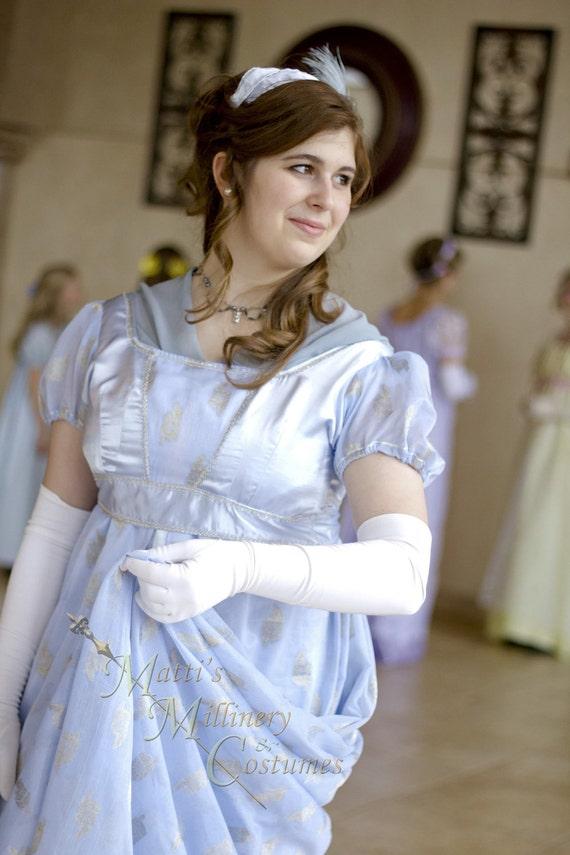 Silver Blue Regency Era Jane Austen Ball Gown with train and headband