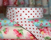 Red and White POLKA DOT Ribbon, Wire Edged, 1 1/2 Inches, 2 Yards
