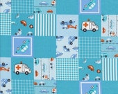 Japanese, Patchwork Cars and Vehicals in Red and Aqua, Half Yard