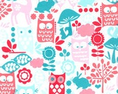 Michael Miller, Forest Life, Red and Aqua, 1/2 Yard