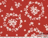 NEW Japanese, Lecien FLOWER SUGAR, Fall 2011, Floral Wreaths in Red, 1/2 yard