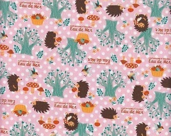 CLEARANCE, Japanese, Hedgehogs and Mushrooms on Pink Polka Dots, Half Yard