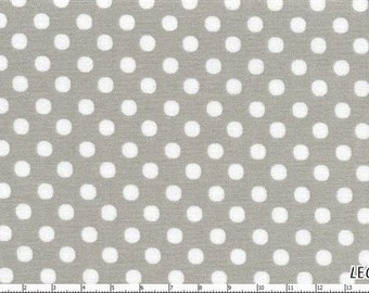 CLEARANCE, Japanese, Lecien Color Basics, White on Grey Polka Dots, 4506-S, 1/2 yard