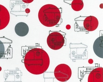 Clearance, Monaluna, Sew Happy, Sewing Machines in Red and White, 17 X 44 inches