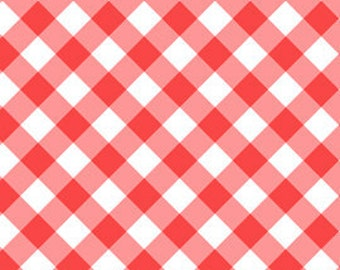 Annie's Farm Stand, Lakehouse, GRAND GINGHAM, Red and Aqua, 1/2 Yard