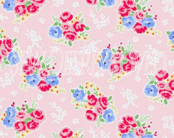 CLEARANCE, Pam Kitty Morning, Lakehouse, Bouquet in Pink, 1/2 Yard