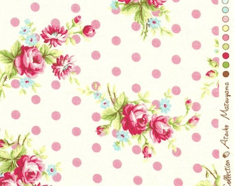 Japanese, ATSUKO MATSUYAMA, 30's Collection, Polka Dot Bouquet, White with Pink Dots, 1/2 Yard