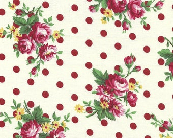 CLEARANCE, Japanese, ATSUKO MATSUYAMA, 30's Collection, Polka Dot Bouquet, White with Red Dots, 1/2 Yard