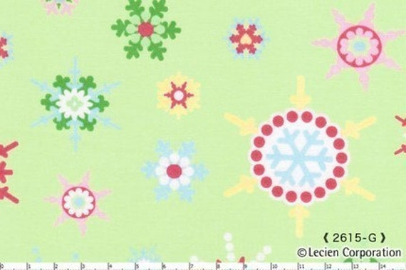 LAST PIECE, Japanese, Lecien, Holiday Happy by Moncia of Happy Zombie, Colored Snowflakes on Light Green, 22 inches