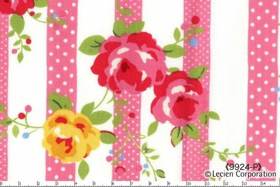 Japanese, Lecien Flower Sugar, Flower Stripes in Pink, 9924-P,1/2 yard