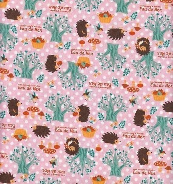 CLEARANCE, Japanese, Hedgehogs and Mushrooms on Pink Polka Dots, Half Yard