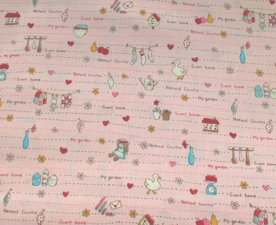 Japanese, Home Sweet Home on Pale Pink, Fat Quarter